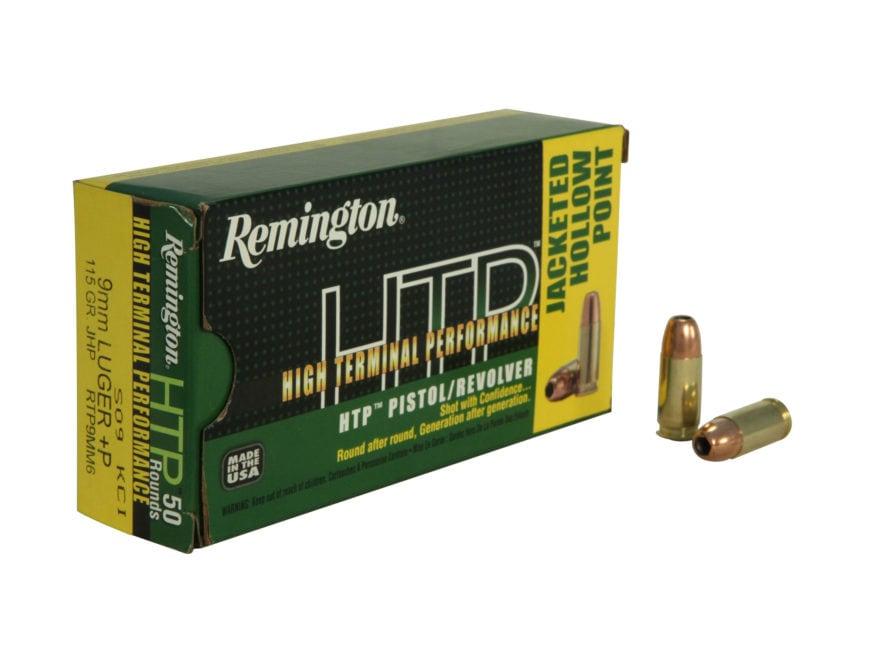 Remington High Terminal Performance (HTP) Ammunition 9mm Luger +P 115 Grain Jacketed Ho...