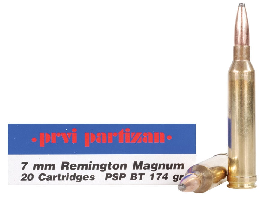 Prvi Partizan Ammunition 7mm Remington Magnum 174 Grain Pointed Soft Point Box of 20