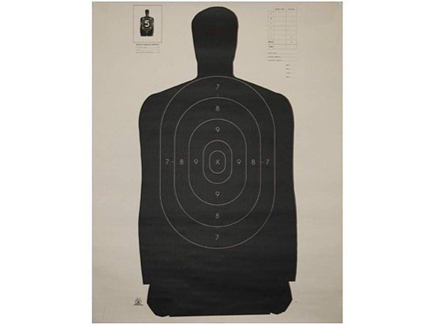"NRA Official Silhouette Targets B-27 (35"") 50 Yard Paper Black/White Pack of 100"