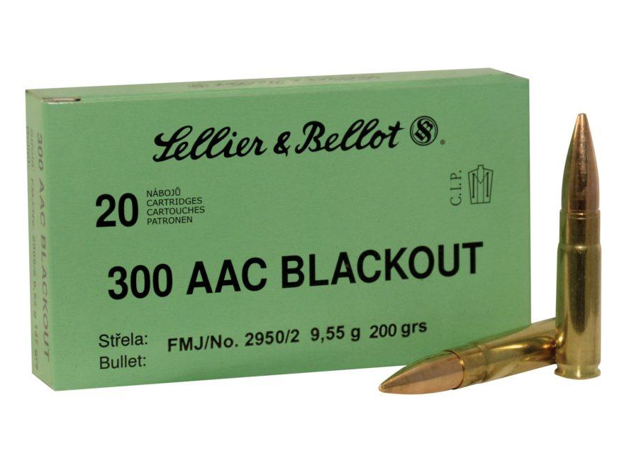 Sellier & Bellot Ammunition 300 AAC Blackout Subsonic 200 Grain Full Metal Jacket