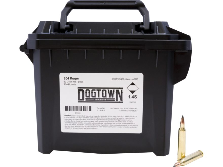 Dogtown Ammunition 204 Ruger 32 Grain Tipped Flat Base