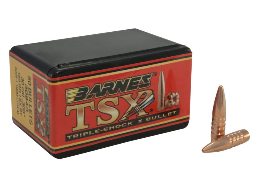 Barnes Triple-Shock X (TSX) Bullets 30 Caliber (308 Diameter) 165 Grain Hollow Point Bo...