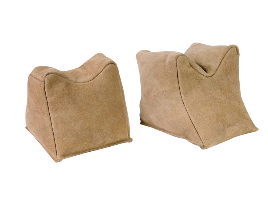Champion Shooting Rest Bags Suede Leather Tan Pair Filled