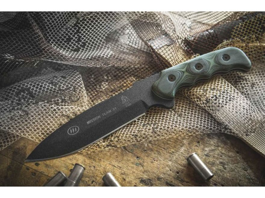 "TOPS Knives Mission Team 21 Fixed Blade Knife 6.63"" Drop Point 1095 High Carbon Alloy B..."