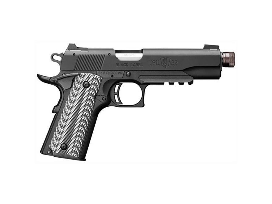 "Browning 1911-22 Suppressor Ready Pistol 22 Long Rifle 4.87"" Barrel 10-Round Black with..."