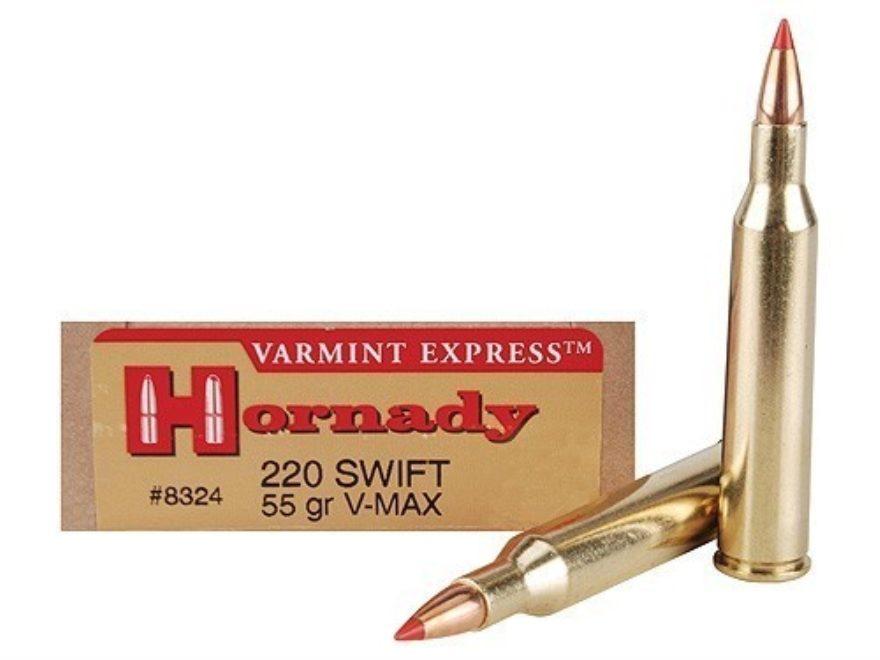 Hornady Varmint Express Ammunition 220 Swift 55 Grain V-MAX Box of 20