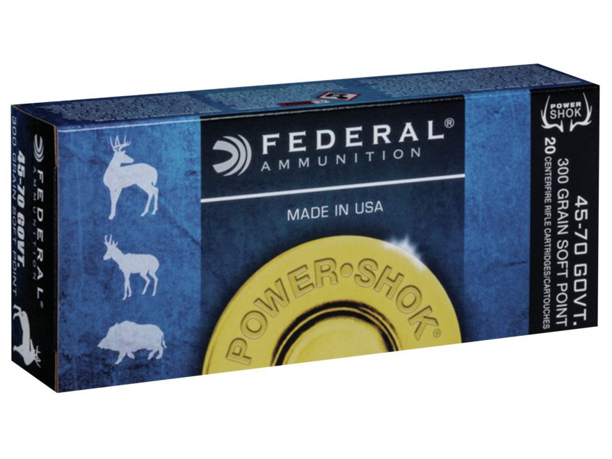 Federal Power-Shok Ammunition 45-70 Government 300 Grain Jacketed Soft Point