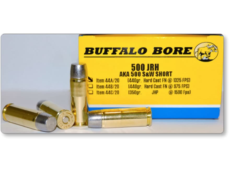 Buffalo Bore Ammunition 500 JRH (500 S&W Short) 440 Grain Hard Cast Lead Flat Nose Box ...