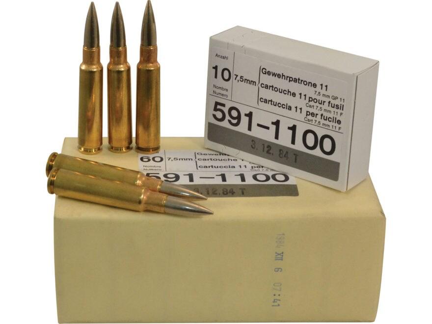 military surplus ammo 7 5mm schmidt rubin mpn 7 5x55 60 ct