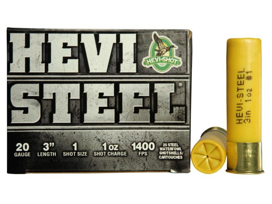 "Hevi-Shot Hevi-Steel Waterfowl Ammunition 20 Gauge 3"" 7/8 oz #1 Non-Toxic Shot"