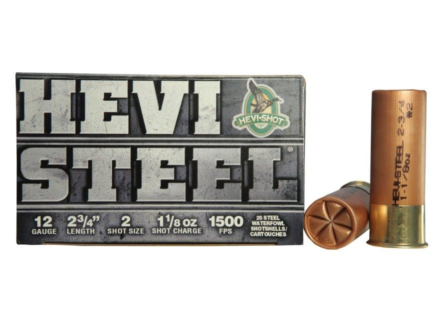 "Hevi-Shot Hevi-Steel Waterfowl Ammunition 12 Gauge 2-3/4"" 1-1/8 oz #2 Non-Toxic Shot"