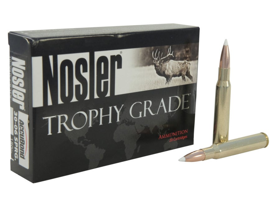Nosler Trophy Grade Ammunition 30-06 Springfield 180 Grain AccuBond Box of 20