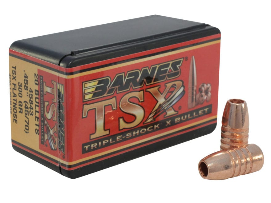 Barnes Triple-Shock X (TSX) Bullets 45-70 Caliber (458 Diameter) 300 Grain Flat Nose Le...