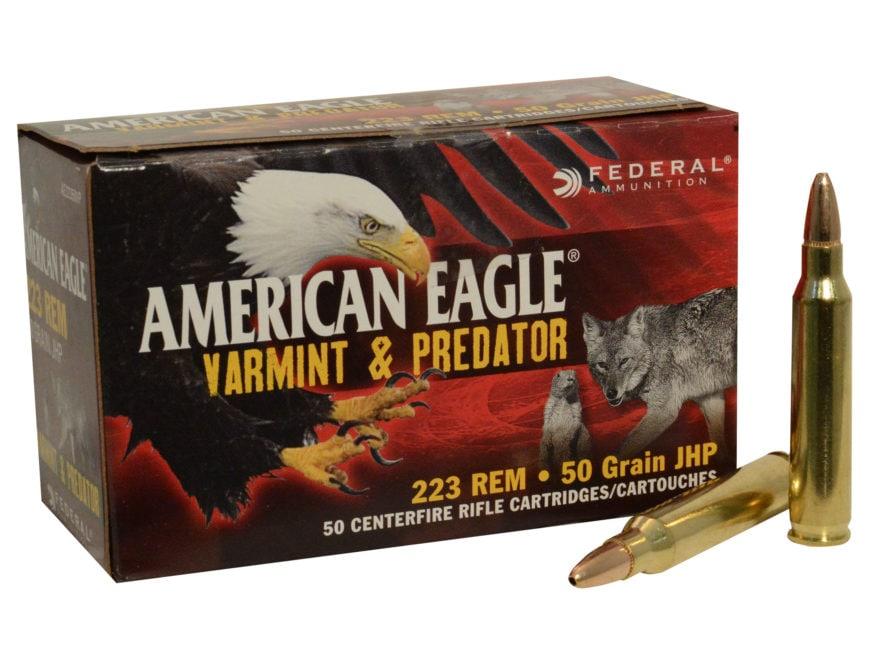 Federal American Eagle Varmint and Predator Ammunition 223 Remington 50 Grain Jacketed ...