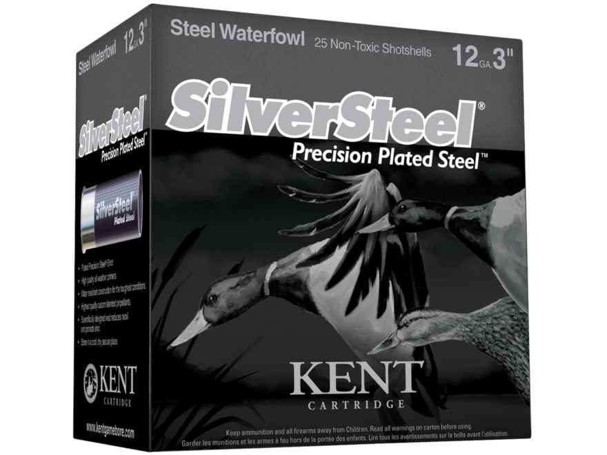 Kent Cartridge SilverSteel Precision Plated Steel Ammunition 12 Gauge Non-Toxic Plated ...