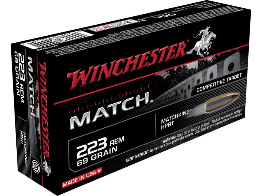 Winchester Match Ammunition 223 Remington 69 Grain Sierra MatchKing Hollow Point Boat Tail