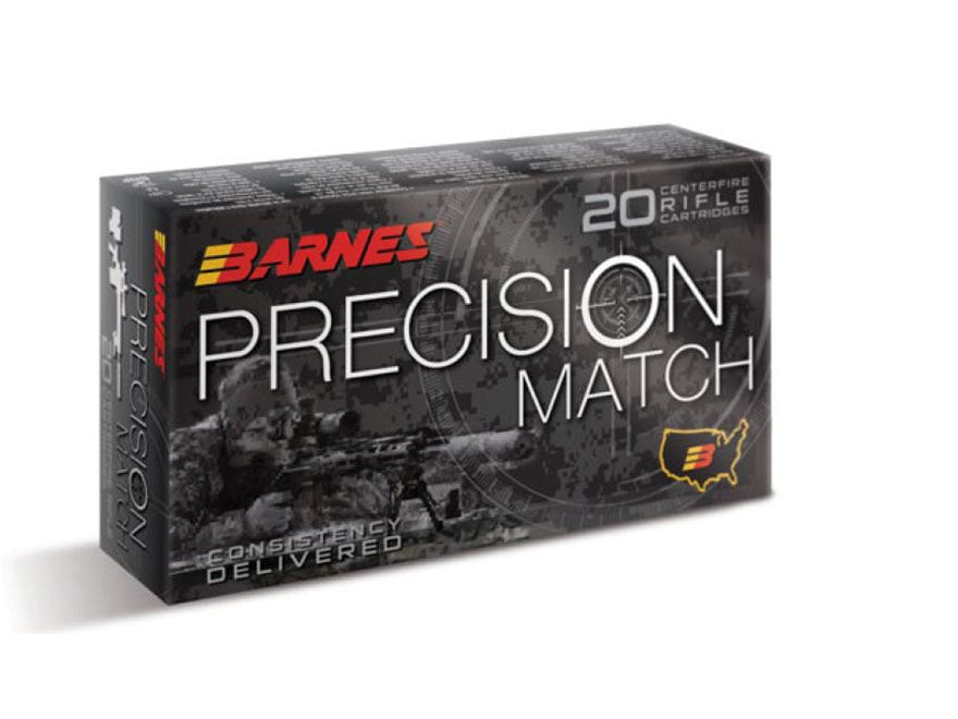 Barnes Precision Match Ammunition 308 Winchester 175 Grain Open Tip Match Box of 20