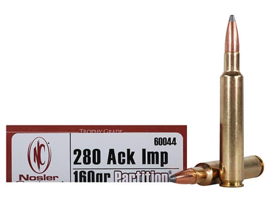 Nosler Trophy Grade Ammunition 280 Ackley Improved 160 Grain Partition Spitzer Box of 20