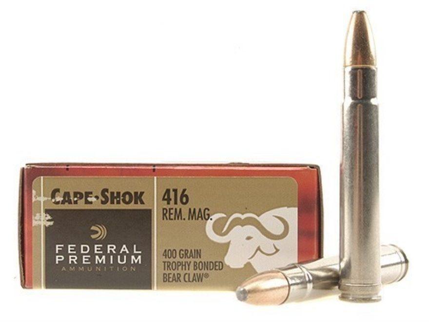 Federal Premium Cape-Shok Ammunition 416 Remington Magnum 400 Grain Trophy Bonded Bear ...