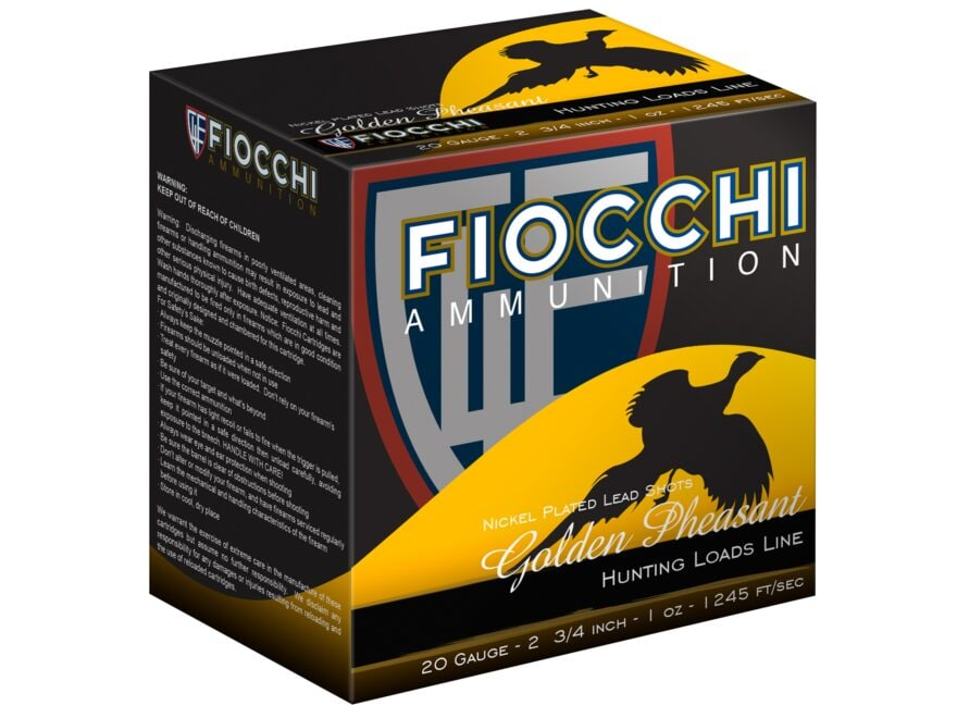 "Fiocchi Golden Pheasant Ammunition 20 Gauge 2-3/4"" 1 oz #6 Nickel Plated Shot Box of 25"
