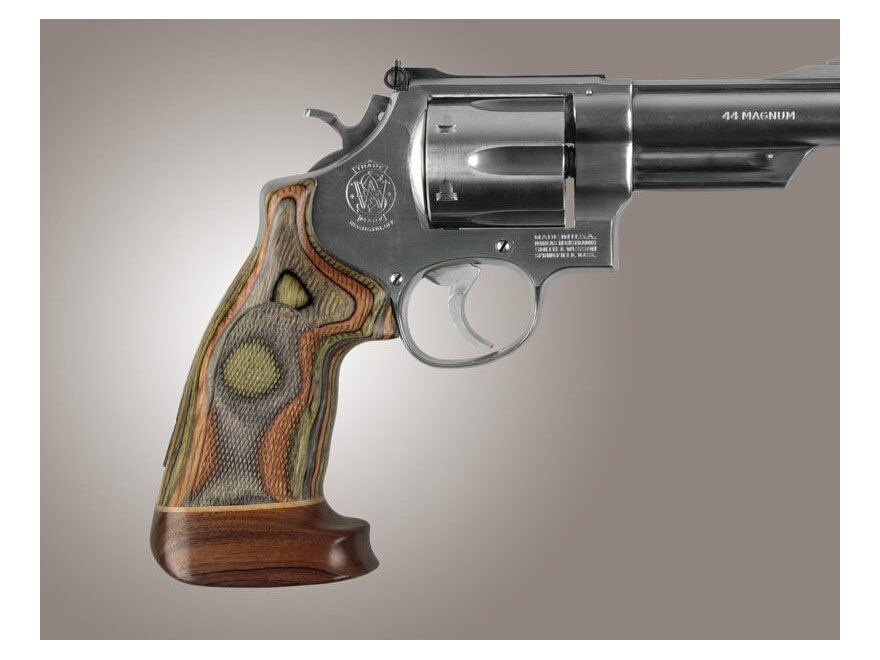 Hogue Fancy Hardwood Grips with Accent Stripe S&W N-Frame Square Butt Oversize Checkered