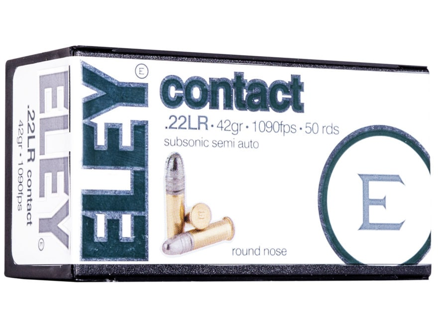 Eley Contact Semi-Auto Ammunition 22 Long Rifle Subsonic 42 Grain Lead Round Nose