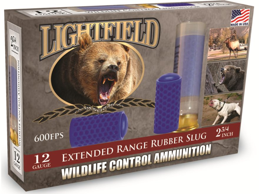 "Lightfield Wildlife Control Less Lethal Ammunition 12 Gauge 2-3/4"" Extended Range Rubbe..."