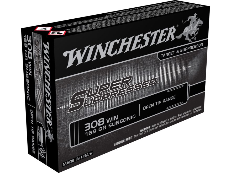 Winchester Super Suppressed Ammunition 308 Winchester Subsonic 168 Grain Full Metal Jac...