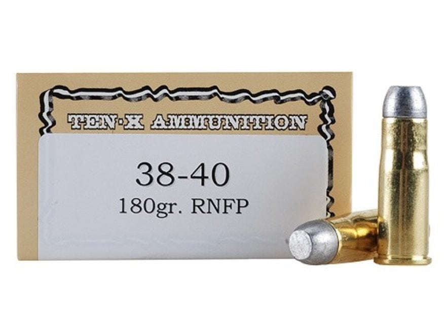 Ten-X Cowboy Ammunition 38-40 WCF 180 Grain Lead Round Nose Flat Point Box of 50