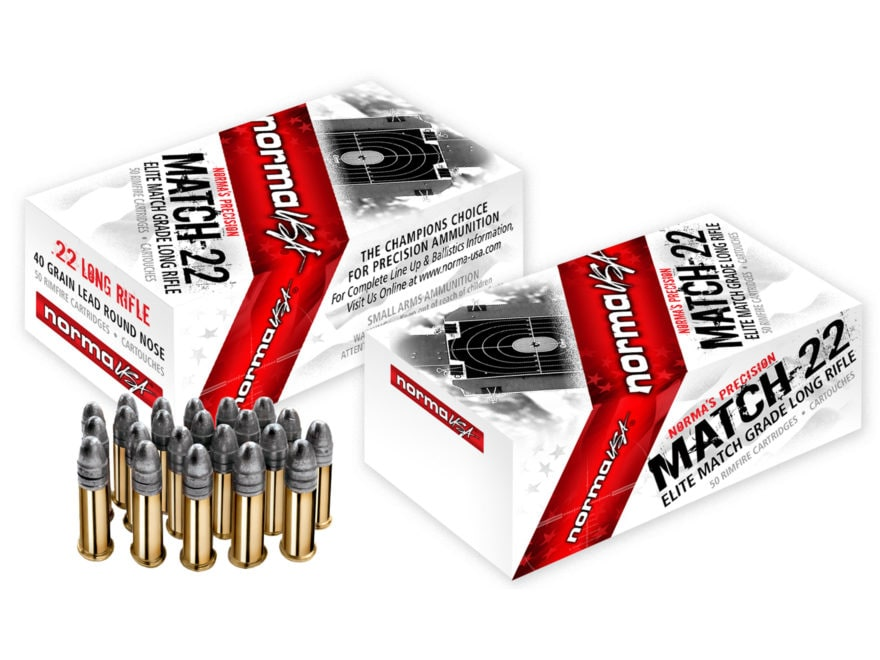 Norma Match-22 Ammunition 22 Long Rifle 40 Grain Lead Round Nose