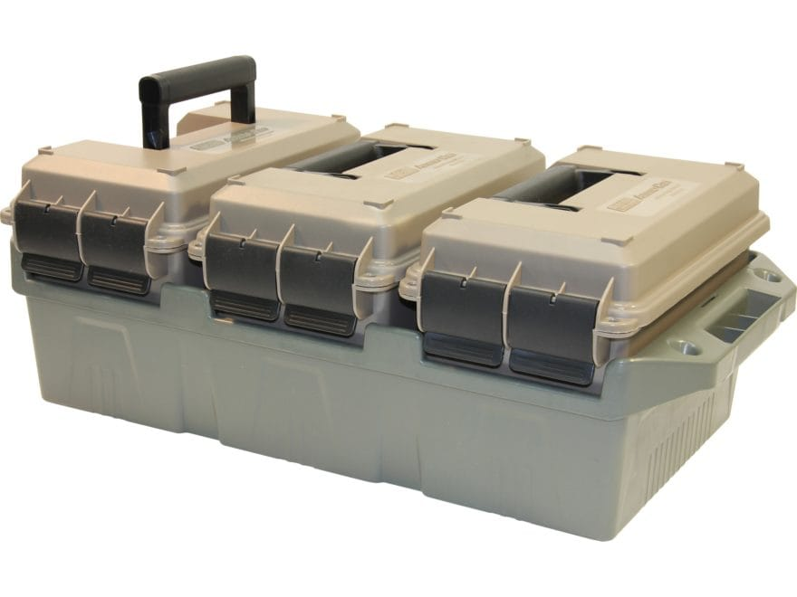 MTM 3-Can Ammo Crate with 50 Caliber Cans Polymer Dark Earth