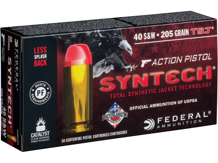 Federal American Eagle Syntech Action Pistol Ammunition 40 S&W 205 Grain Total Syntheti...