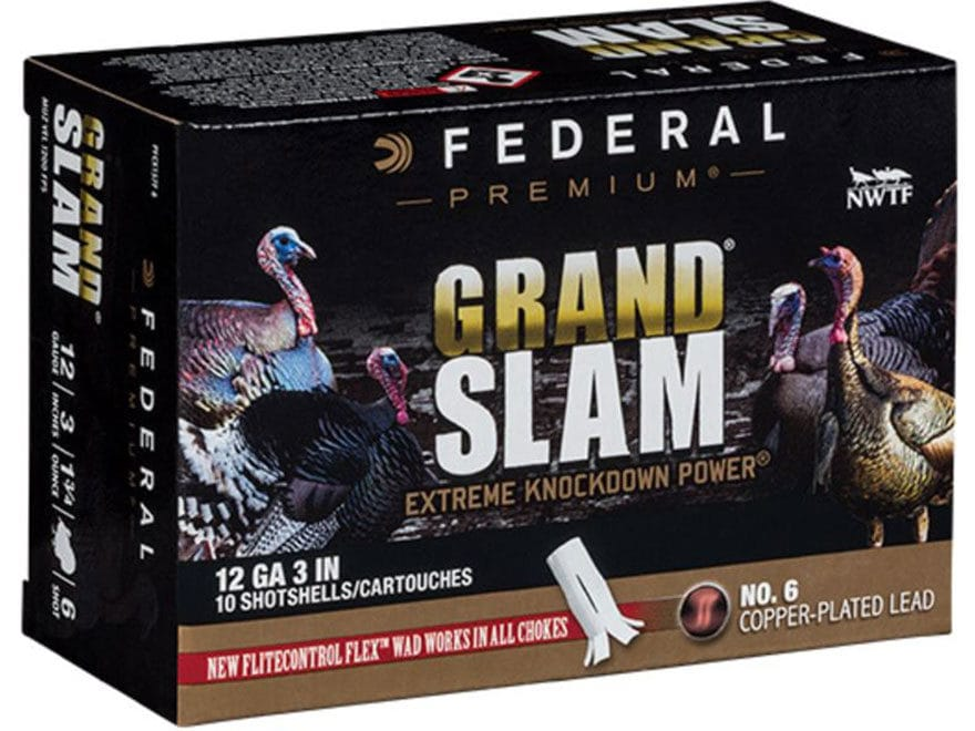 Federal Premium Grand Slam Turkey Ammunition 12 Gauge Buffered Copper Plated Shot Fligh...