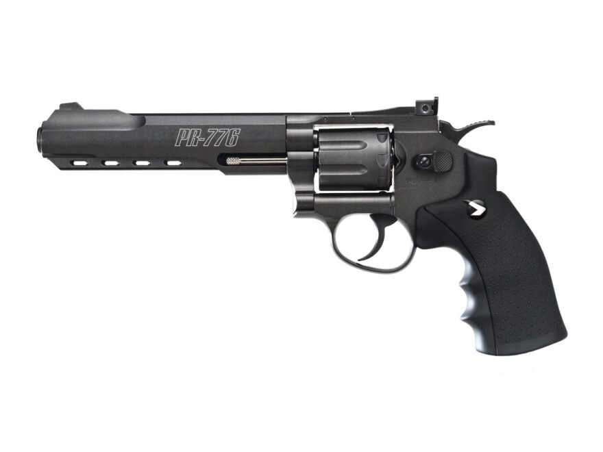 Gamo PR-776 Revolver Air Pistol 177 Caliber Pellet Black Rubber Grips Matte