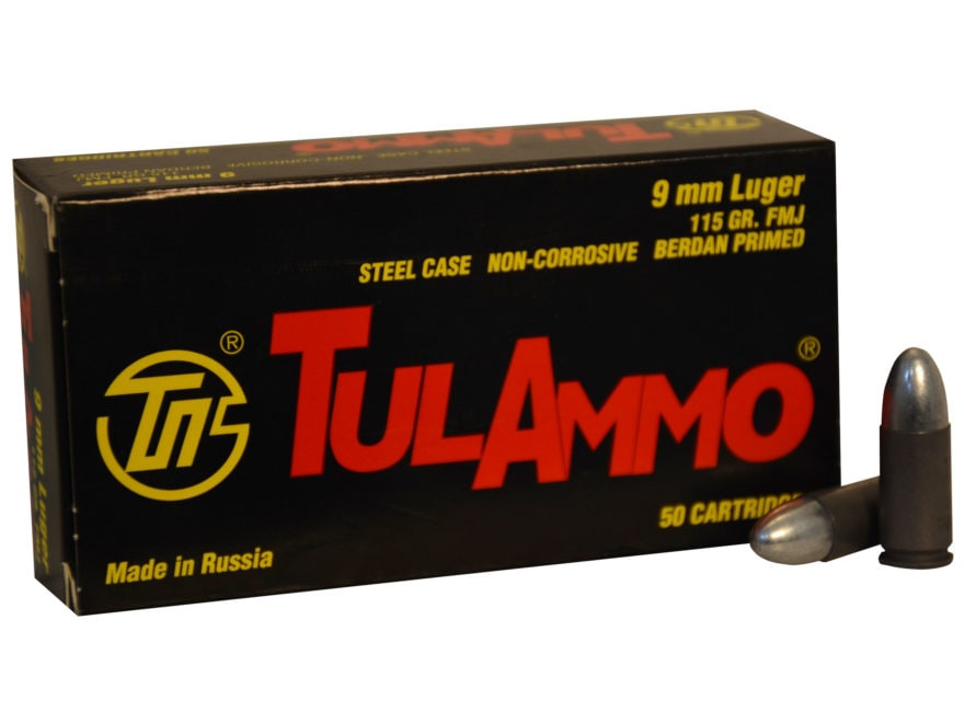 TulAmmo Ammunition 9mm Luger 115 Grain Full Metal Jacket (Bi-Metal) Steel Case Berdan P...