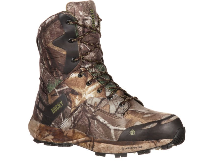 "Rocky Broadhead 8"" Waterproof 800 Gram Insulated Hunting Boots Ripstop Realtree Xtra Ca..."