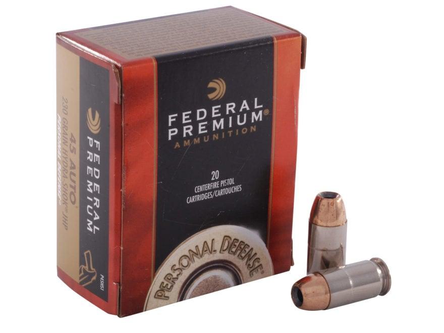 Federal Premium Personal Defense Ammunition 45 ACP 230 Grain Hydra-Shok Jacketed Hollow...