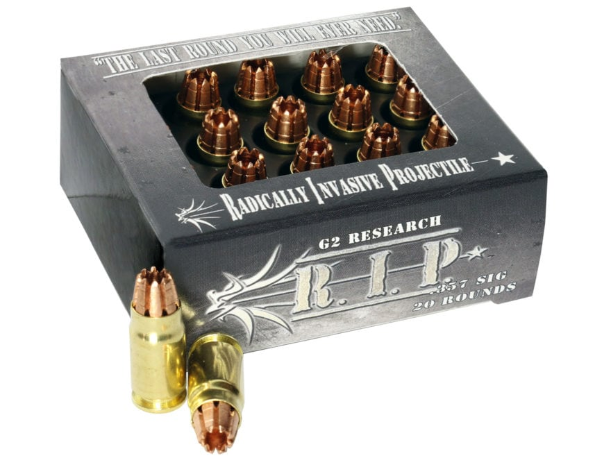G2 Research R.I.P. Ammunition 357 Sig 92 Grain Radically Invasive Projectile Fragmentin...