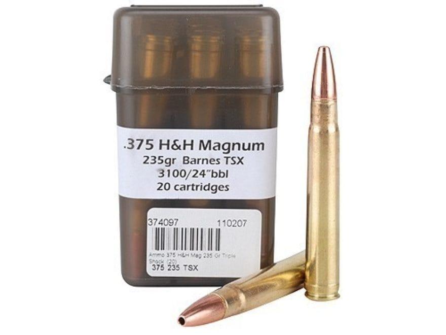 DoubleTap Ammunition 375 H&H Magnum 235 Grain Barnes TSX Hollow Point Lead-Free Box of 20