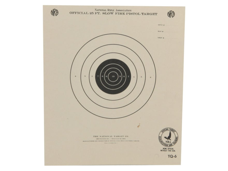 NRA Official Pistol Targets TQ-6 25' Slow Fire Paper Pack of 100