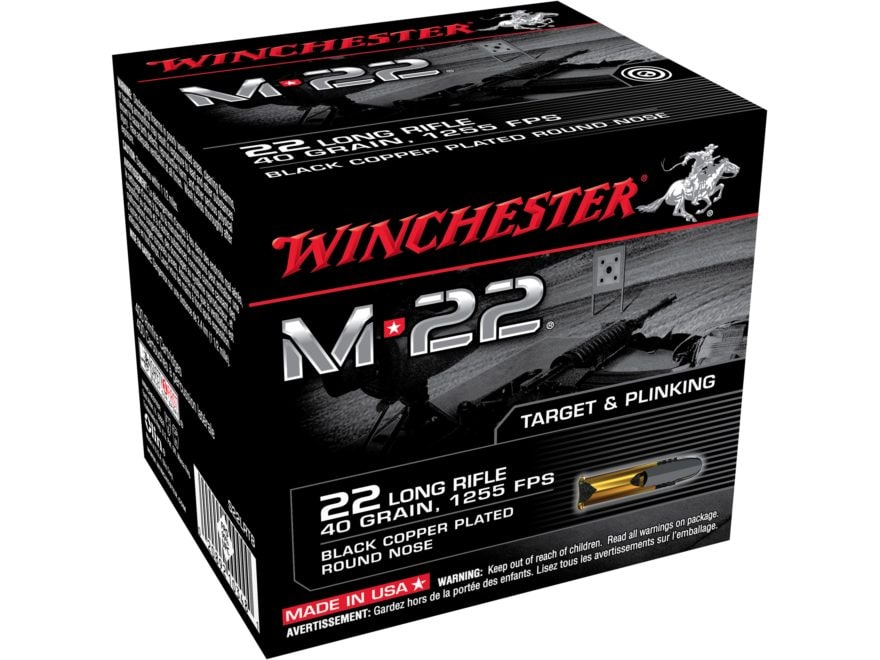 Winchester M-22 Ammunition 22 Long Rifle 40 Grain Black Plated Lead Round Nose Value Pack