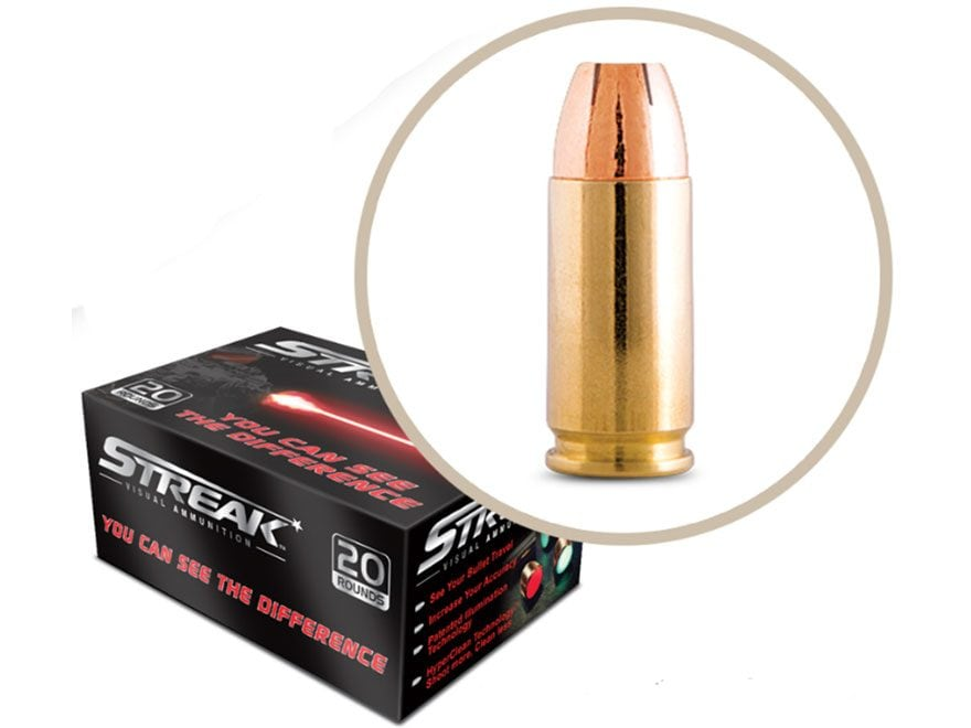 Streak Ammunition 380 ACP 90 Grain Jacketed Hollow Point Red Cold Tracer Box of 20