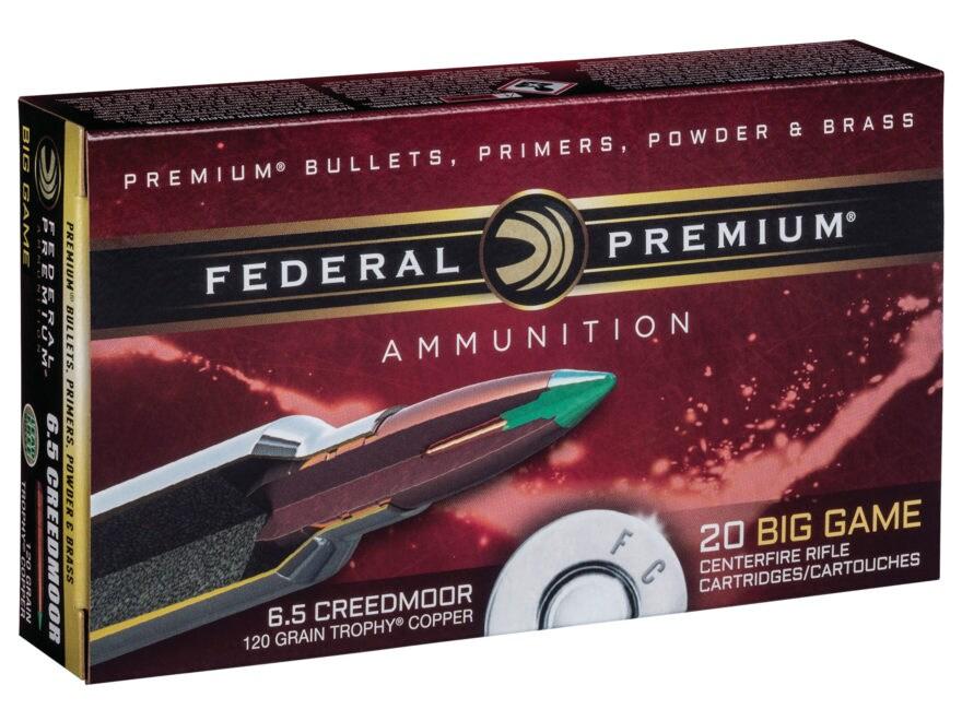 Federal Premium Vital-Shok Ammunition 6.5 Creedmoor 120 Grain Trophy Copper Tipped Boat...