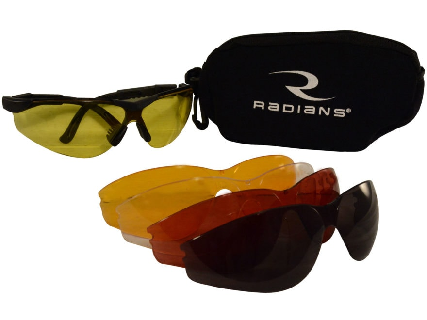 Radians T-85 Shooting Glasses Kit Black Frame Clear Smoke Amber Orange and Copper Lenses