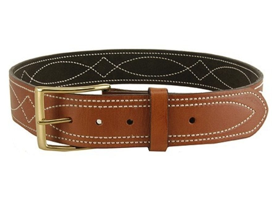 "DeSantis Fancy Stitch Holster Belt 1.75"" Brass Buckle Suede Lined Leather"