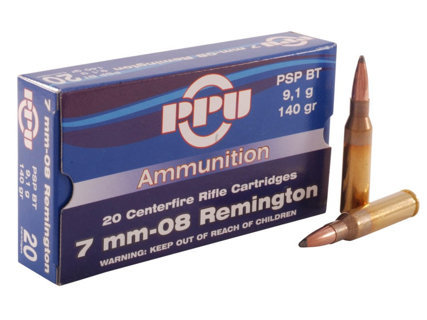 Prvi Partizan Ammunition 7mm-08 Remington 140 Grain Pointed Soft Point Boat Tail Box of 20