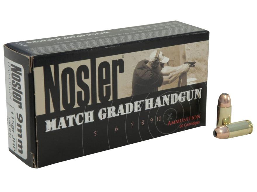 Nosler Match Grade Ammunition 9mm Luger 115 Grain Jacketed Hollow Point