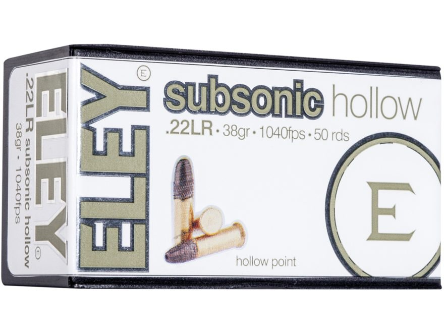 Eley Subsonic Hollow Ammunition 22 Long Rifle 40 Grain Lead Hollow Point