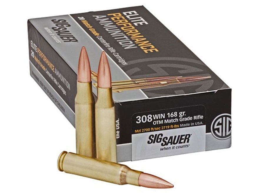 Sig Sauer Elite Performance Match Grade Ammunition 308 Winchester 168 Grain Open Tip Match