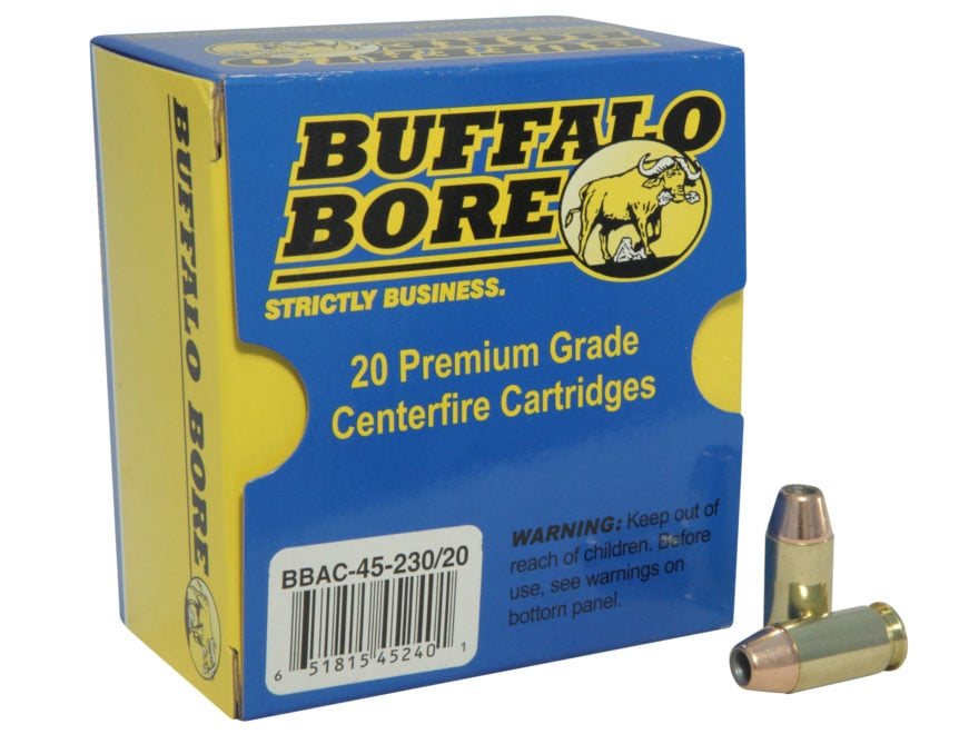 Buffalo Bore Ammunition 45 ACP +P 230 Grain Jacketed Hollow Point Box of 20